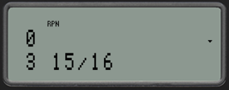 HP 35s - Image: Hp 35s emulator fraction display