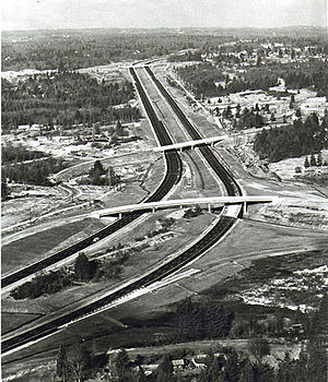 Washington State Route 525 - The Swamp Creek Interchange in Lynnwood, the southern terminus of SR 525 and the northern terminus of I-405, viewed from above in 1967.  The overpass in the distance is 164th St. SW, where SR 525 was designated at that time.