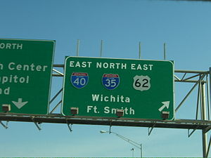 Control city - This sign in Oklahoma City, Oklahoma lists control cities of Wichita, Kansas and Fort Smith, Arkansas for Interstate 35 and Interstate 40 respectively.
