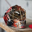 Ice hockey goaltender helmet - Lausanne Hockey Club vs. HC Viège, 01.04.2010.jpg