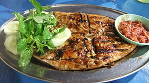Ikan bakar - Ikan Bakar, grilled red snapper served with sambal.