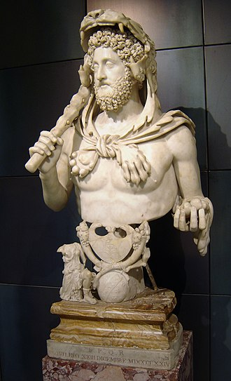September (Roman month) - Commodus with the attributes of Hercules, holding a club and an apple of the Hesperides, and wearing the Nemean lionskin