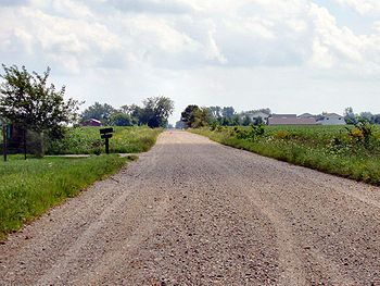 A typical rural dirt road in Indiana, USA.