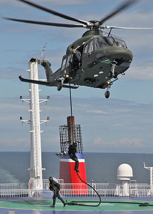 Army Ranger Wing - Rangers fast rope from an AW139 helicopter in a maritime counter terrorism exercise on the Irish Sea in 2011