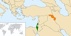 Map indicating locations of Israel and Iraqi Kurdistan
