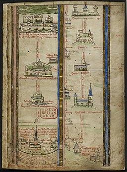 Itinerary by Matthew Paris - Historia Anglorum (1250-1259), f.2 - BL Royal MS 14 C VII
