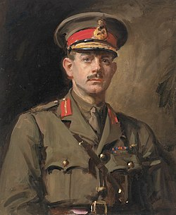 Painting – Formal portrait of a First World War general in khaki uniform, with red hat band and collar tabs, gold braid and Sam Browne belt.