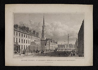 St Andrew's and St George's West Church - Historic view of the Church, c.1829)