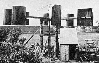 Wind turbine - James Blyth's electricity-generating wind turbine, photographed in 1891