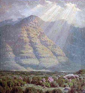 Jan Ernst Abraham Volschenk - Hazy Morning in the Langeberg (1916)