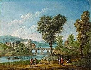 Jan Frans van Bredael - Landscape with castle and bridge