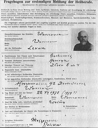 Janusz Korczak - Korczak's filling card prepared during compulsory registration of physicians ordered by the German occupation authorities in Warsaw in 1940