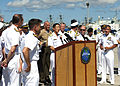 Japan Maritime Self-Defense Force Rear Adm. Yasuki Nakahata, at lectern, addresses reporters during a press conference marking the opening of Rim of the Pacific (RIMPAC) 2014 at Joint Base Pearl Harbor-Hickam 140630-N-WF272-071.jpg