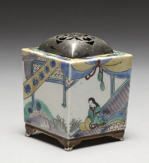 Arita ware - Arita ware incense burner (kōro) with domestic scenes, late Edo period/early Meiji era, 19th century