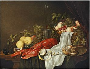 Jasper Geeraerts - A lobster, a partly-peeled lemon, a basket of fruit, bread, a conch shell and an upturned roemer, with other fruit and vessels on a party-draped table.jpg