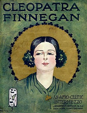 "Jerome H. Remick - Sheet music cover for ""Cleopatra Finnegan : an Afro-Celtic intermezzo"""