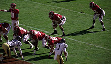 American football players in position prior to a snap.