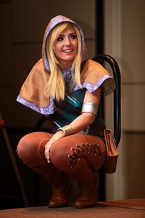 Jessica Nigri - Nigri co-hosting cosplay contest (dressed as Lux from League of Legends) at the 2014 Amazing Arizona Comic Con