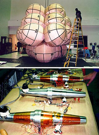 Thiokol - Thiokol gas generators were used in the airbags on Mars Pathfinder. The top photo shows a complete airbag assembly under test, the bottom shows the three titanium Thiokol gas generators used to inflate the airbags.