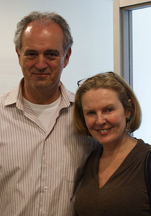 Margery Eagan - Jim Braude and Margery Eagan at a live radio broadcast in Brookline, Massachusetts, May 7, 2010