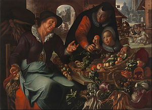 Joachim Wtewael - The Fruit and Vegetable Seller; the young girl has found an apple with a patch of rot
