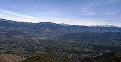 Aerial view of Jogindernagar and its surrounding mountains