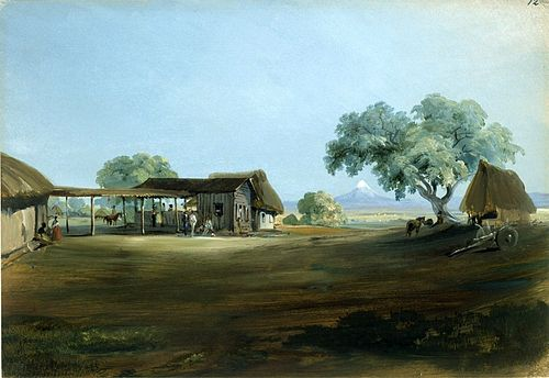 Santa Anna's first and favorite hacienda Manga de Clavo, which his first wife's dowry enabled him to purchase. Painting by Johann Moritz Rugendas. Kuperferstichkabinett, Staatliche Museen zu Berlin, Id. Number: VIII E. 2440, 1831-1834. Johhan Moritz Rugendas, Manga de Clavo. Hacienda von General Santa Anna.jpg