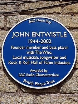 Photo of John Entwistle blue plaque