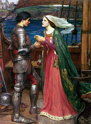 Tristan und Isolde - Tristan and Isolde with the Potion (1916) by John William Waterhouse, oil on canvas