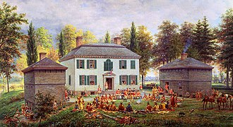 Sir William Johnson, 1st Baronet - Johnson hosting an Iroquois conference at Johnson Hall in 1772 (painting by E. L. Henry, 1903)