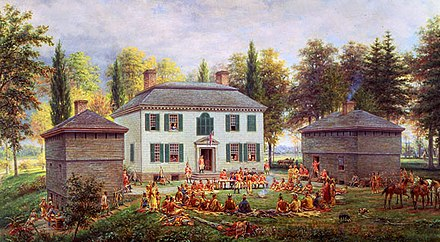 Johnson hosting an Iroquois conference at Johnson Hall in 1772 (painting by E. L. Henry, 1903) Johnson Hall by Henry.jpg