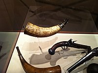 Jonathan Gardner Powder horn 1776 at the Concord Mass Museum.JPG