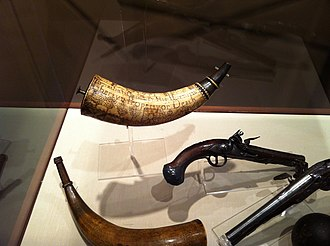 Concord Museum - Powder horn and gun in the Concord Museum