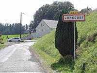 Joncourt (Aisne) city limit sign.JPG