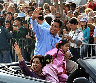 Los Angeles City Council District 14 - Image: José Huizar and his family during a Chinatown parade