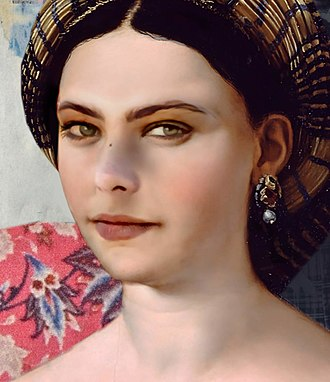 "For this project the AI had to find the typical patterns in the colors and brushstrokes of Renaissance painter Raphael. The portrait shows the face of the actress Ornella Muti, ""painted"" by AI in the style of Raphael. Joseph Ayerle portrait of Ornella Muti (detail), calculated by Artificial Intelligence (AI) technology.jpg"