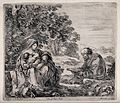 Joseph reads from the Bible while the Virgin Mary breast fee Wellcome V0034677.jpg