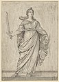 Judith standing on a ledge holding the head of Holofernes in her left hand and a sword in her right MET DP837927.jpg