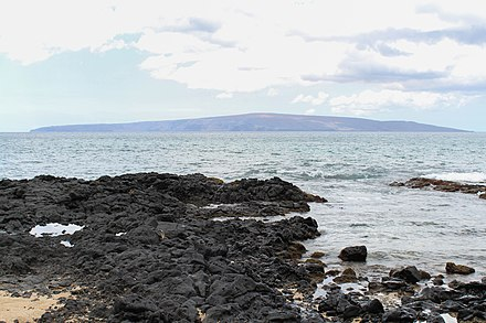 The gently sloping flanks of Kaho`olawe shield volcano (viewed from Makena on the neighboring island Maui) Kahoolawe from Makena Maui.jpg