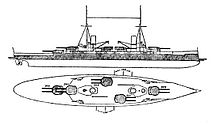 A large warship with five gun turrets, two tall masts, two funnels, and heavy armor protection.