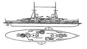 Kaiser-class battleship - The shaded areas represent the portions of the ship protected by armor