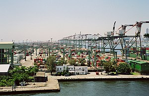 Economic history of Taiwan - Container depot and docks, Port of Kaohsiung.
