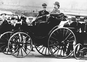 Economy of Germany - The invention of the automobile. Karl Benz with his wife, Bertha Benz, in a Benz Viktoria, model 1894.