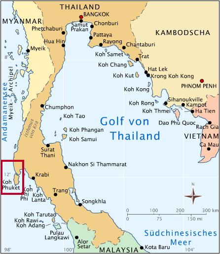 Karte Golf von Thailand - Phuket
