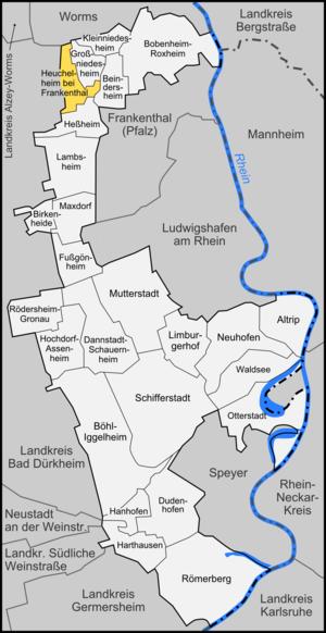 Heuchelheim bei Frankenthal - Image: Karte Heuchelheim bei Frankenthal