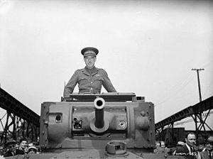 Kenneth Stuart - Brigadier Kenneth Stuart in the first Valentine tank built in Canada