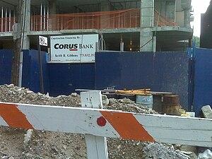 Corus Bankshares - Corus Bank sign at development site located at 23 Caton Place in Kensington, Brooklyn.