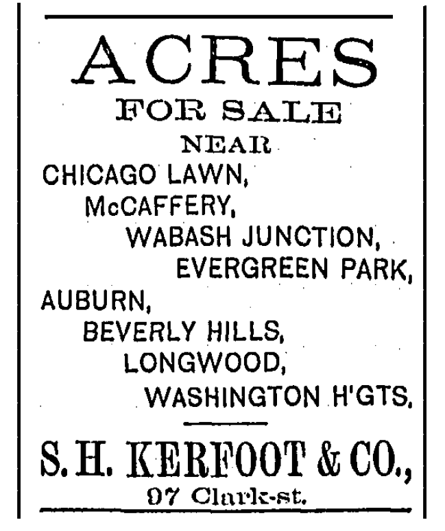 Kerfoot Beverly Hills-Longwood ad November 24, 1889 p13