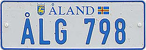 Transport on the Åland Islands - Car number plate