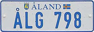 Transport on the Åland Islands - Car number plate